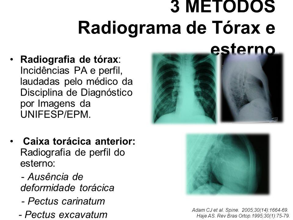 3 MÉTODOS Radiograma de Tórax e esterno Radiografia de tórax: Incidências PA e perfil, laudadas pelo médico da Disciplina de Diagnóstico por Imagens d