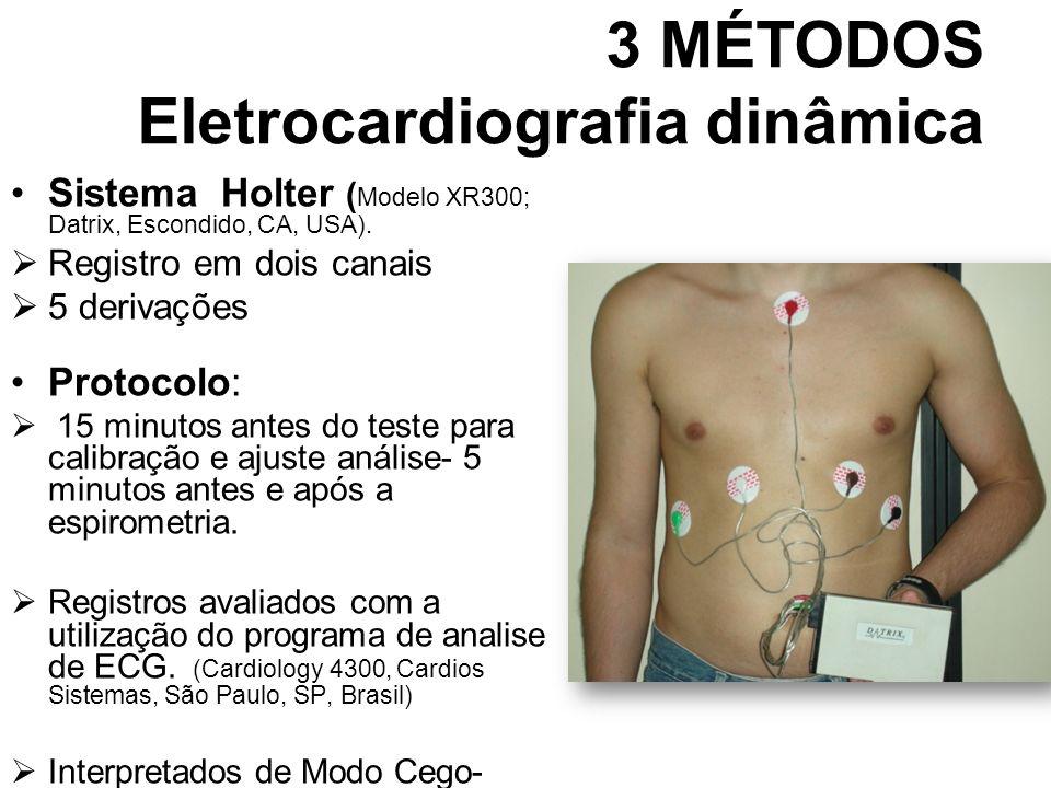 3 MÉTODOS Eletrocardiografia dinâmica Sistema Holter ( Modelo XR300; Datrix, Escondido, CA, USA). Registro em dois canais 5 derivações Protocolo: 15 m