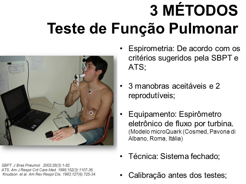 Espirometria: De acordo com os critérios sugeridos pela SBPT e ATS; 3 manobras aceitáveis e 2 reprodutíveis; Equipamento: Espirômetro eletrônico de fl