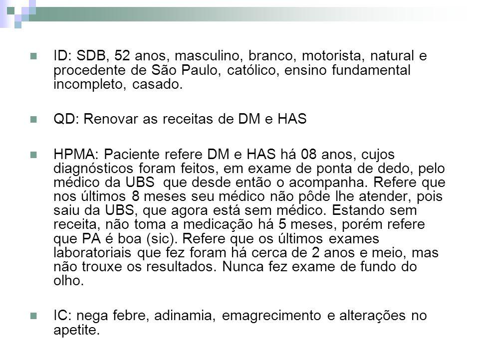 ID: SDB, 52 anos, masculino, branco, motorista, natural e procedente de São Paulo, católico, ensino fundamental incompleto, casado. QD: Renovar as rec