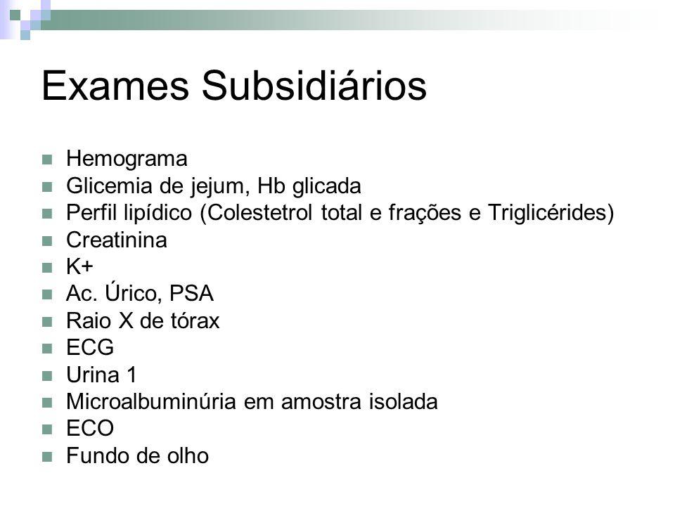 Hemograma Glicemia de jejum, Hb glicada Perfil lipídico (Colestetrol total e frações e Triglicérides) Creatinina K+ Ac. Úrico, PSA Raio X de tórax ECG