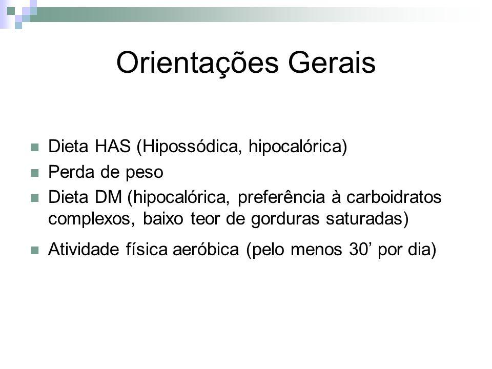 Orientações Gerais Dieta HAS (Hipossódica, hipocalórica) Perda de peso Dieta DM (hipocalórica, preferência à carboidratos complexos, baixo teor de gor