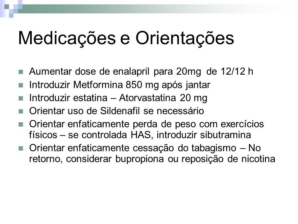 Medicações e Orientações Aumentar dose de enalapril para 20mg de 12/12 h Introduzir Metformina 850 mg após jantar Introduzir estatina – Atorvastatina