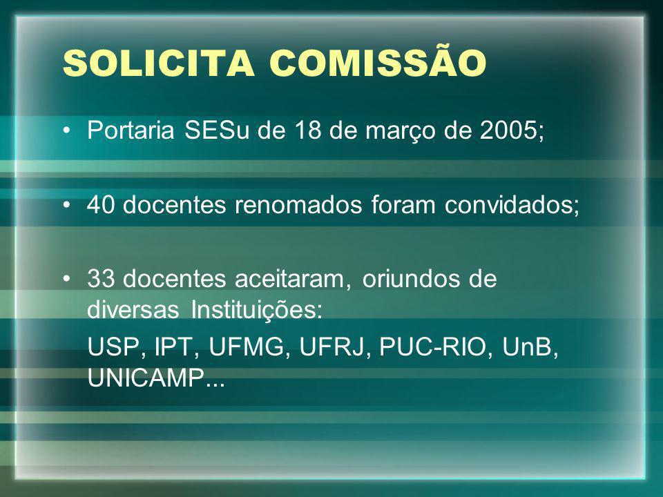 SOLICITA COMISSÃO Portaria SESu de 18 de março de 2005; 40 docentes renomados foram convidados; 33 docentes aceitaram, oriundos de diversas Instituiçõ