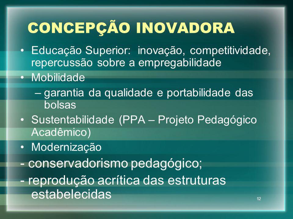 12 CONCEPÇÃO INOVADORA Educação Superior: inovação, competitividade, repercussão sobre a empregabilidade Mobilidade –garantia da qualidade e portabili