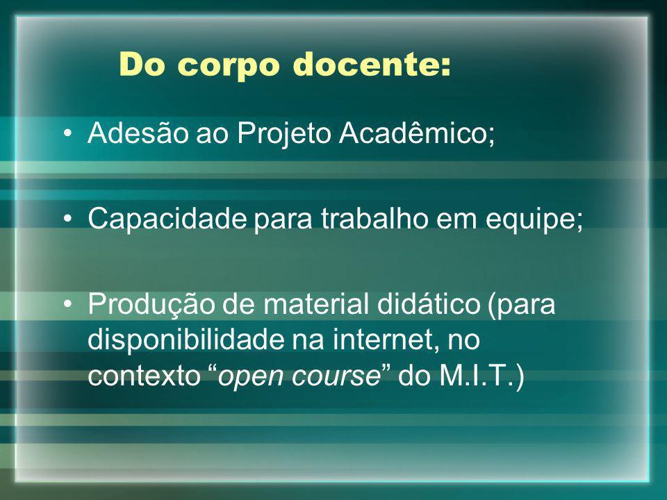 Do corpo docente: Adesão ao Projeto Acadêmico; Capacidade para trabalho em equipe; Produção de material didático (para disponibilidade na internet, no