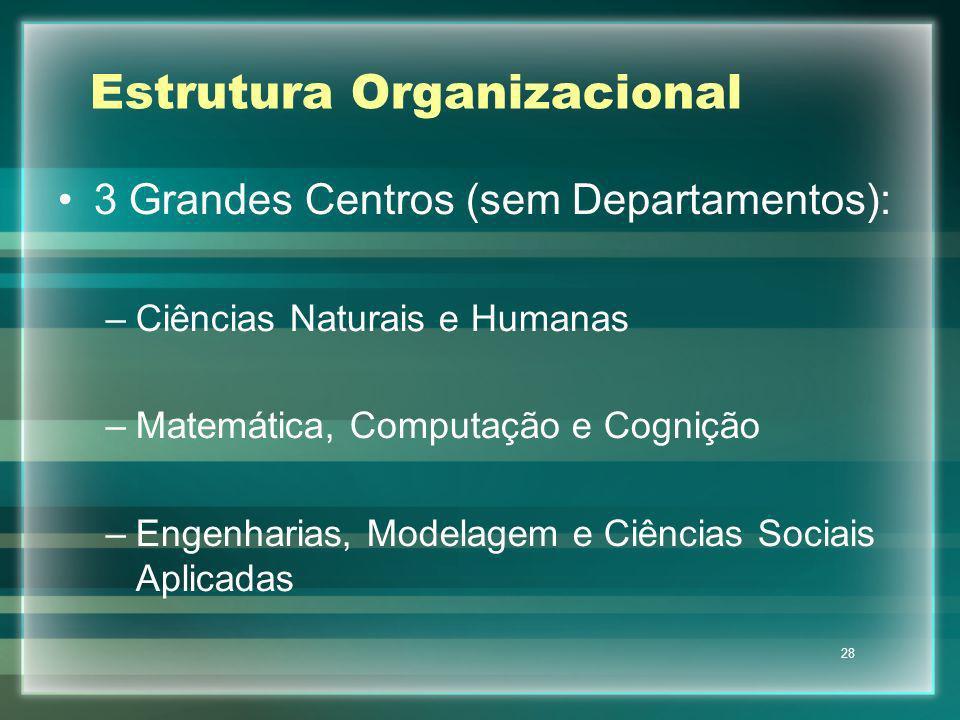 28 Estrutura Organizacional 3 Grandes Centros (sem Departamentos): –Ciências Naturais e Humanas –Matemática, Computação e Cognição –Engenharias, Model