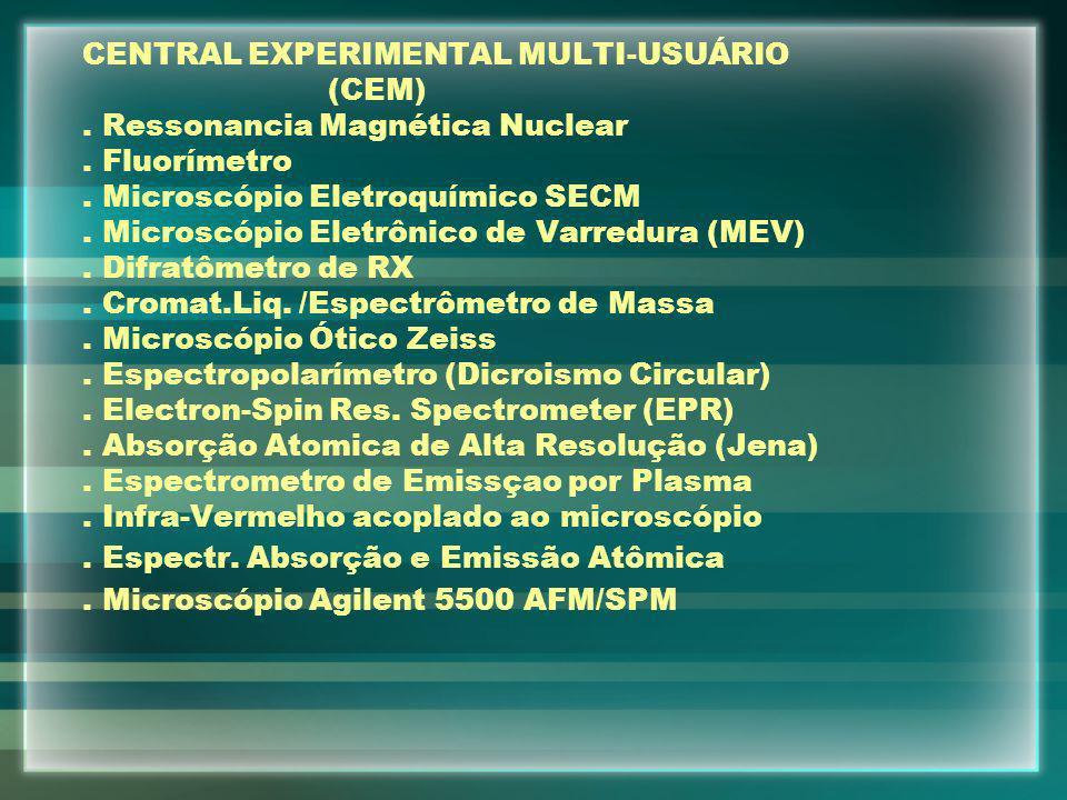 CENTRAL EXPERIMENTAL MULTI-USUÁRIO (CEM). Ressonancia Magnética Nuclear. Fluorímetro. Microscópio Eletroquímico SECM. Microscópio Eletrônico de Varred