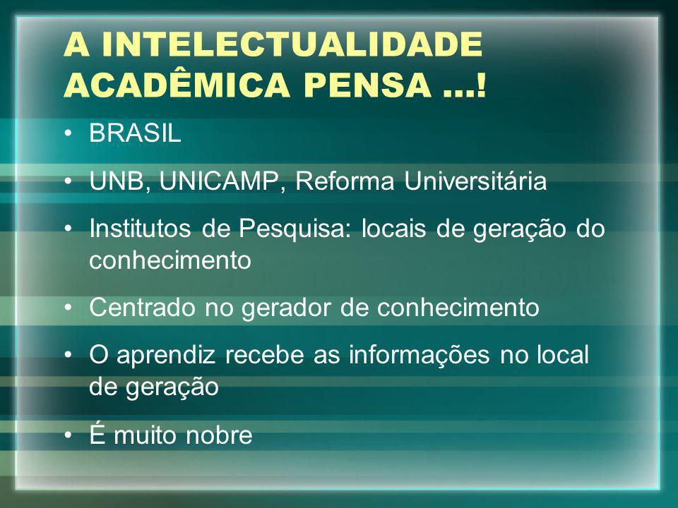 A INTELECTUALIDADE ACADÊMICA PENSA...! BRASIL UNB, UNICAMP, Reforma Universitária Institutos de Pesquisa: locais de geração do conhecimento Centrado n