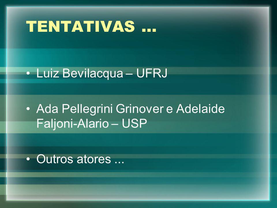 TENTATIVAS... Luiz Bevilacqua – UFRJ Ada Pellegrini Grinover e Adelaide Faljoni-Alario – USP Outros atores...