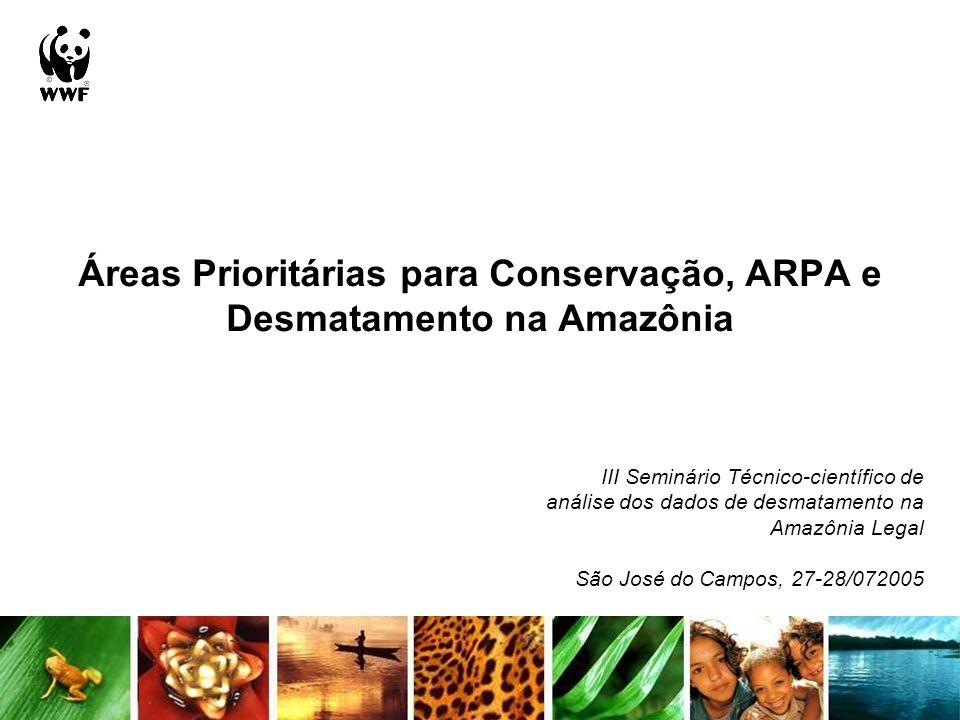Áreas prioritárias PROBIO versus desmatamento Analisou-se a evolução do desmatamento dos períodos 2001-02 a 2003-04 nas áreas prioritárias do PROBIO para o bioma amazônico Áreas prioritárias segundo sua importância % desmatamento extremamente alta% muito alta%alta% insuficientemente conhecida% < 202148788847882191 < 40156880014 < 601146611314 < 8042110000 < = 10031220000 Total247105823