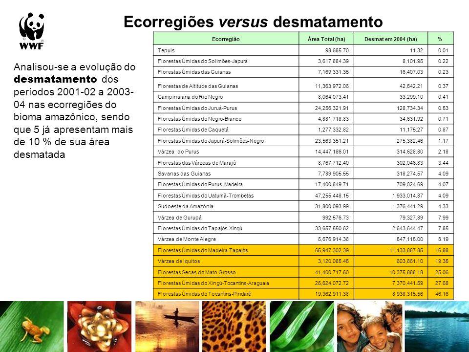 Ecorregiões versus desmatamento Analisou-se a evolução do desmatamento dos períodos 2001-02 a 2003- 04 nas ecorregiões do bioma amazônico, sendo que 5