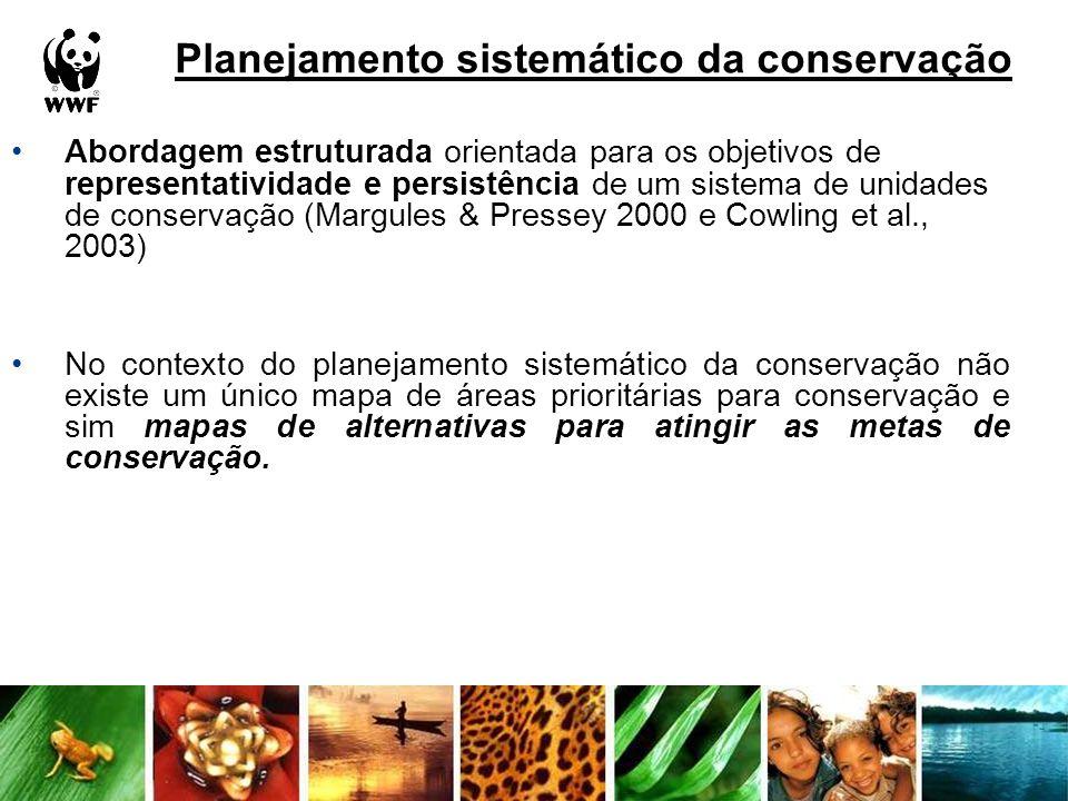 Planejamento sistemático da conservação Abordagem estruturada orientada para os objetivos de representatividade e persistência de um sistema de unidad