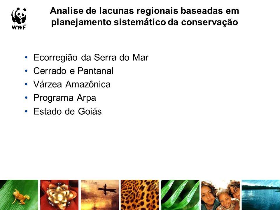 Analise de lacunas regionais baseadas em planejamento sistemático da conservação Ecorregião da Serra do Mar Cerrado e Pantanal Várzea Amazônica Progra