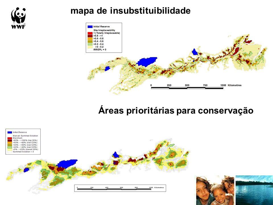 mapa de insubstituibilidade Áreas prioritárias para conservação