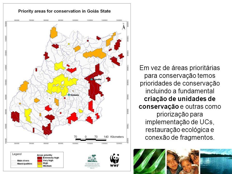 Em vez de áreas prioritárias para conservação temos prioridades de conservação incluindo a fundamental criação de unidades de conservação e outras com