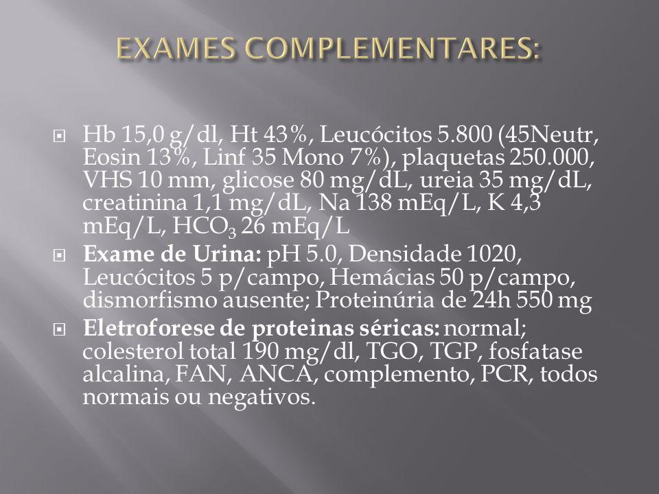 Hb 15,0 g/dl, Ht 43%, Leucócitos 5.800 (45Neutr, Eosin 13%, Linf 35 Mono 7%), plaquetas 250.000, VHS 10 mm, glicose 80 mg/dL, ureia 35 mg/dL, creatinina 1,1 mg/dL, Na 138 mEq/L, K 4,3 mEq/L, HCO 3 26 mEq/L Exame de Urina: pH 5.0, Densidade 1020, Leucócitos 5 p/campo, Hemácias 50 p/campo, dismorfismo ausente; Proteinúria de 24h 550 mg Eletroforese de proteinas séricas: normal; colesterol total 190 mg/dl, TGO, TGP, fosfatase alcalina, FAN, ANCA, complemento, PCR, todos normais ou negativos.