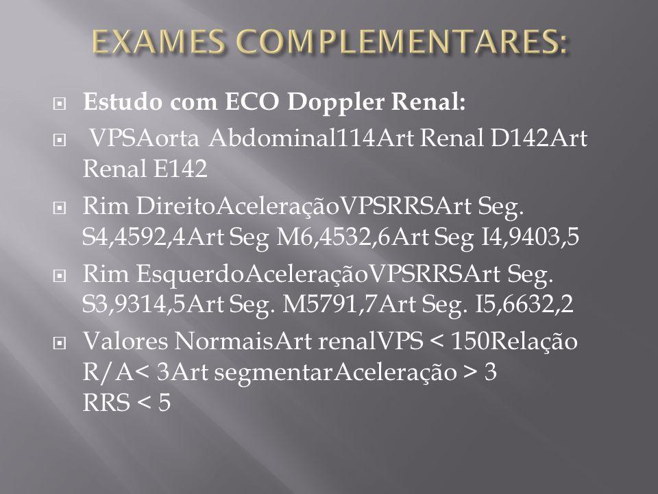Estudo com ECO Doppler Renal: VPSAorta Abdominal114Art Renal D142Art Renal E142 Rim DireitoAceleraçãoVPSRRSArt Seg. S4,4592,4Art Seg M6,4532,6Art Seg