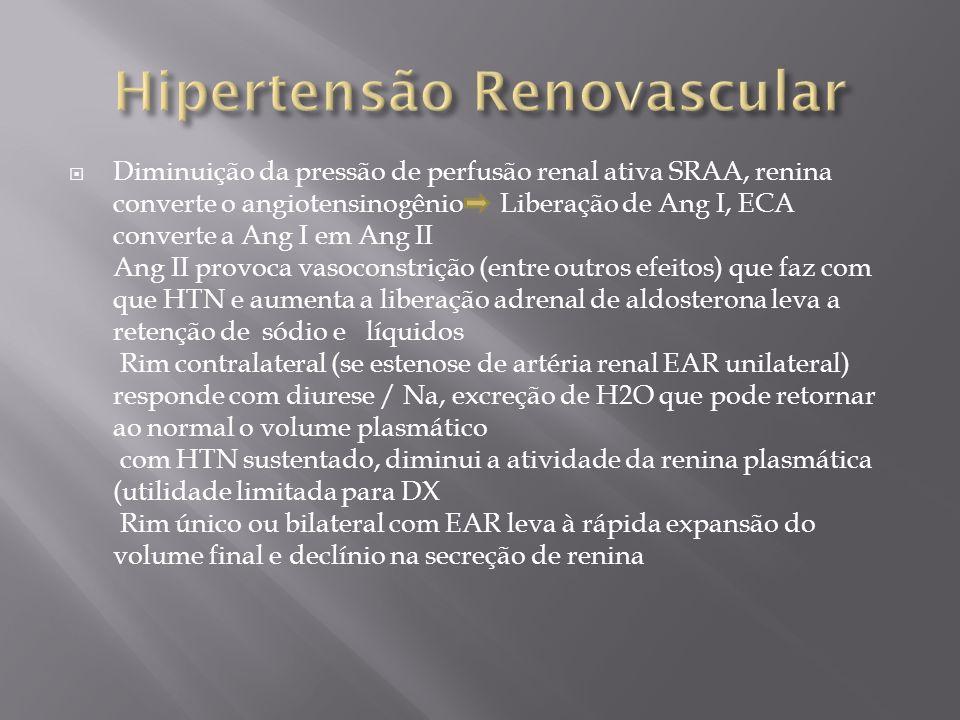 Diminuição da pressão de perfusão renal ativa SRAA, renina converte o angiotensinogênio Liberação de Ang I, ECA converte a Ang I em Ang II Ang II provoca vasoconstrição (entre outros efeitos) que faz com que HTN e aumenta a liberação adrenal de aldosterona leva a retenção de sódio e líquidos Rim contralateral (se estenose de artéria renal EAR unilateral) responde com diurese / Na, excreção de H2O que pode retornar ao normal o volume plasmático com HTN sustentado, diminui a atividade da renina plasmática (utilidade limitada para DX Rim único ou bilateral com EAR leva à rápida expansão do volume final e declínio na secreção de renina