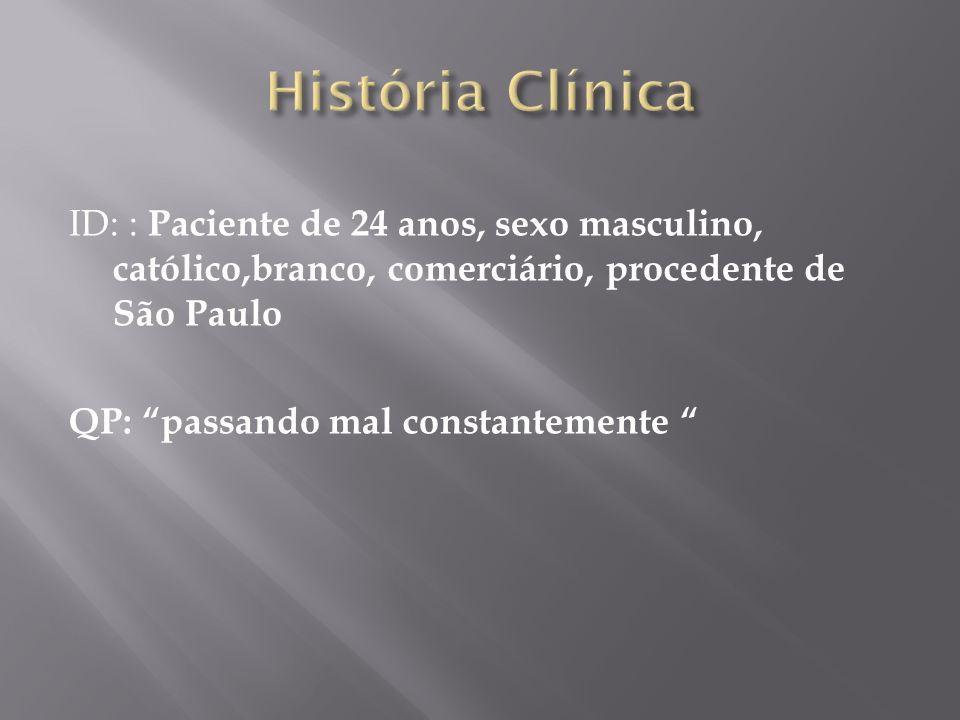 ID: : Paciente de 24 anos, sexo masculino, católico,branco, comerciário, procedente de São Paulo QP: passando mal constantemente