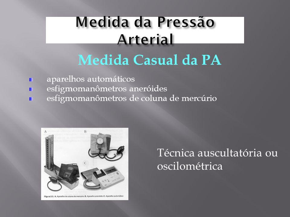 aparelhos automáticos esfigmomanômetros aneróides esfigmomanômetros de coluna de mercúrio Medida Casual da PA Técnica auscultatória ou oscilométrica
