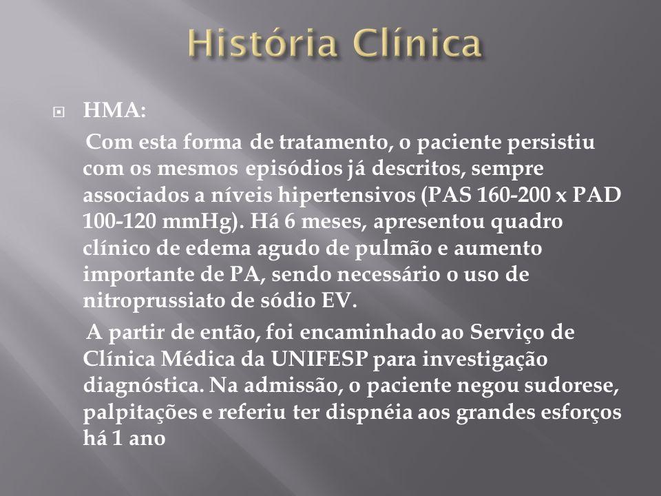 HMA: Com esta forma de tratamento, o paciente persistiu com os mesmos episódios já descritos, sempre associados a níveis hipertensivos (PAS 160-200 x PAD 100-120 mmHg).