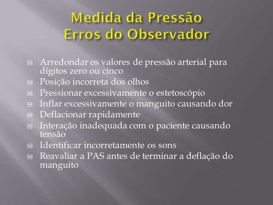 Arredondar os valores de pressão arterial para dígitos zero ou cinco Posição incorreta dos olhos Pressionar excessivamente o estetoscópio Inflar exces