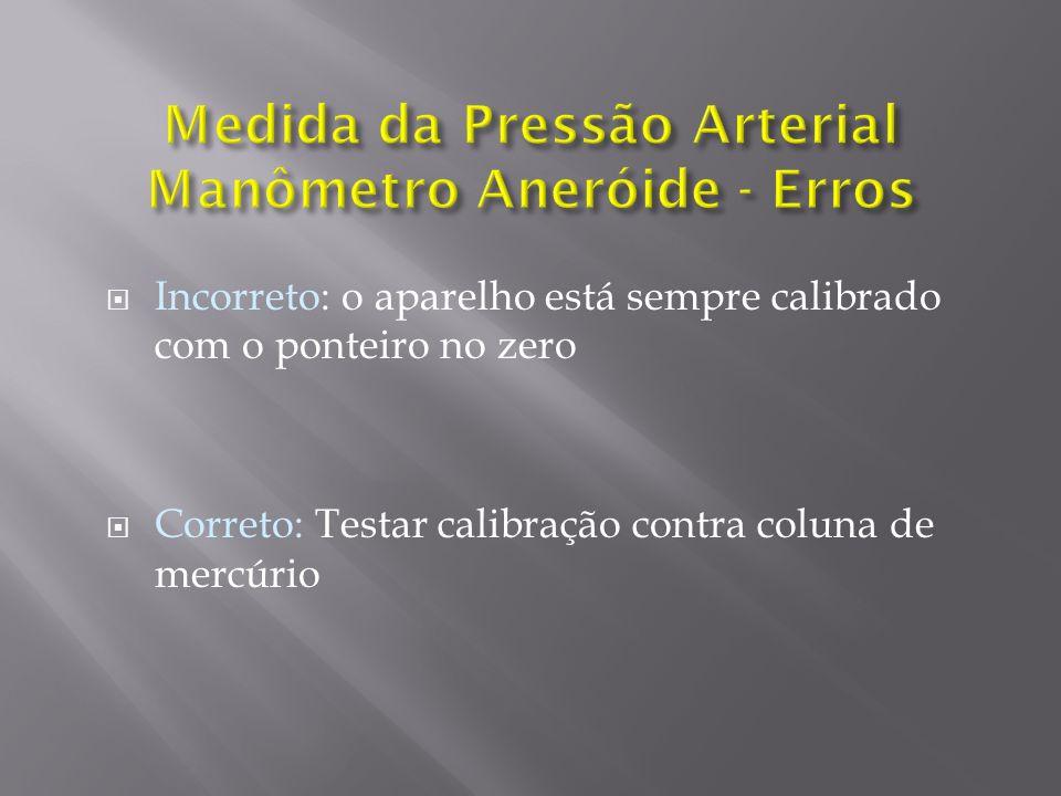 Incorreto: o aparelho está sempre calibrado com o ponteiro no zero Correto: Testar calibração contra coluna de mercúrio