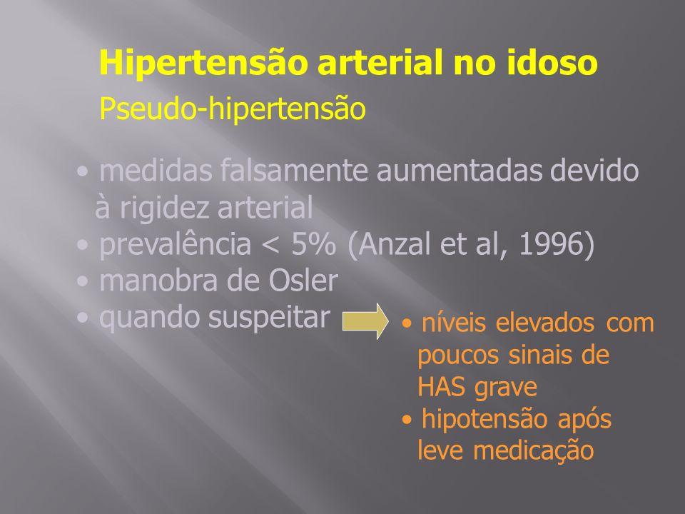 Hipertensão arterial no idoso Pseudo-hipertensão medidas falsamente aumentadas devido à rigidez arterial prevalência < 5% (Anzal et al, 1996) manobra de Osler quando suspeitar níveis elevados com poucos sinais de HAS grave hipotensão após leve medicação