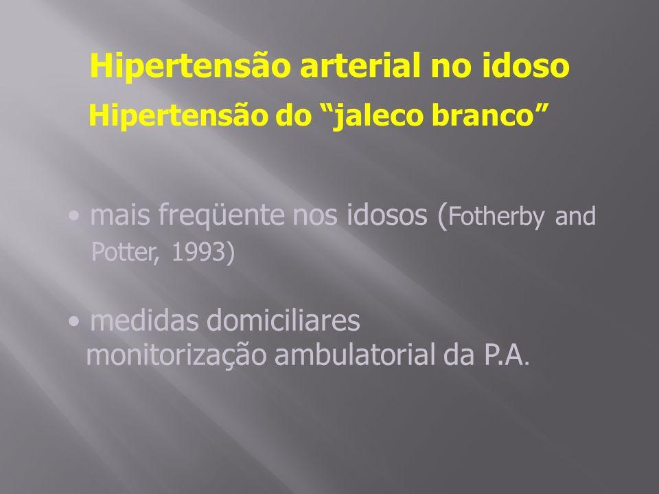 Hipertensão arterial no idoso Hipertensão do jaleco branco mais freqüente nos idosos ( Fotherby and Potter, 1993) medidas domiciliares monitorização ambulatorial da P.A.