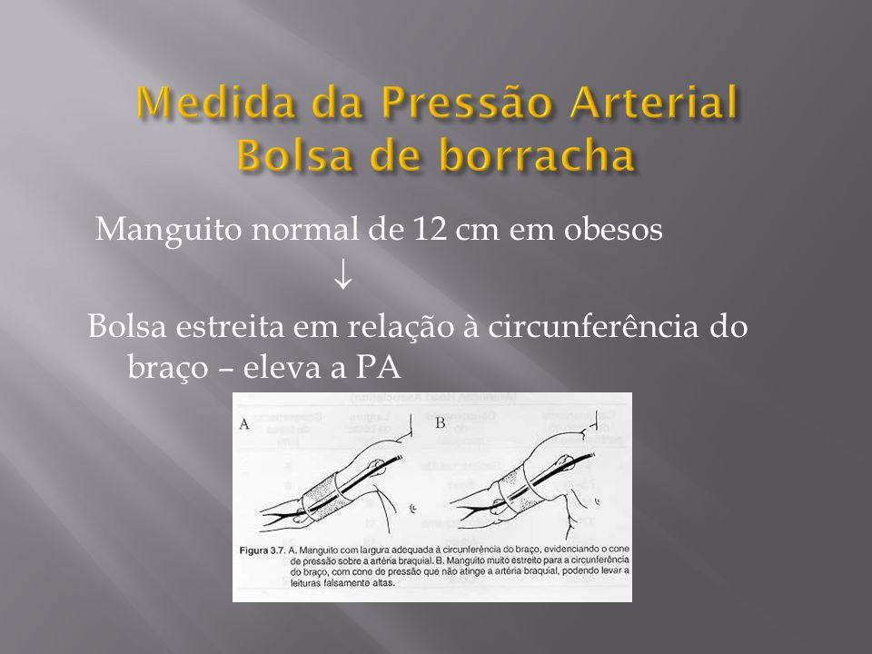 Manguito normal de 12 cm em obesos Bolsa estreita em relação à circunferência do braço – eleva a PA