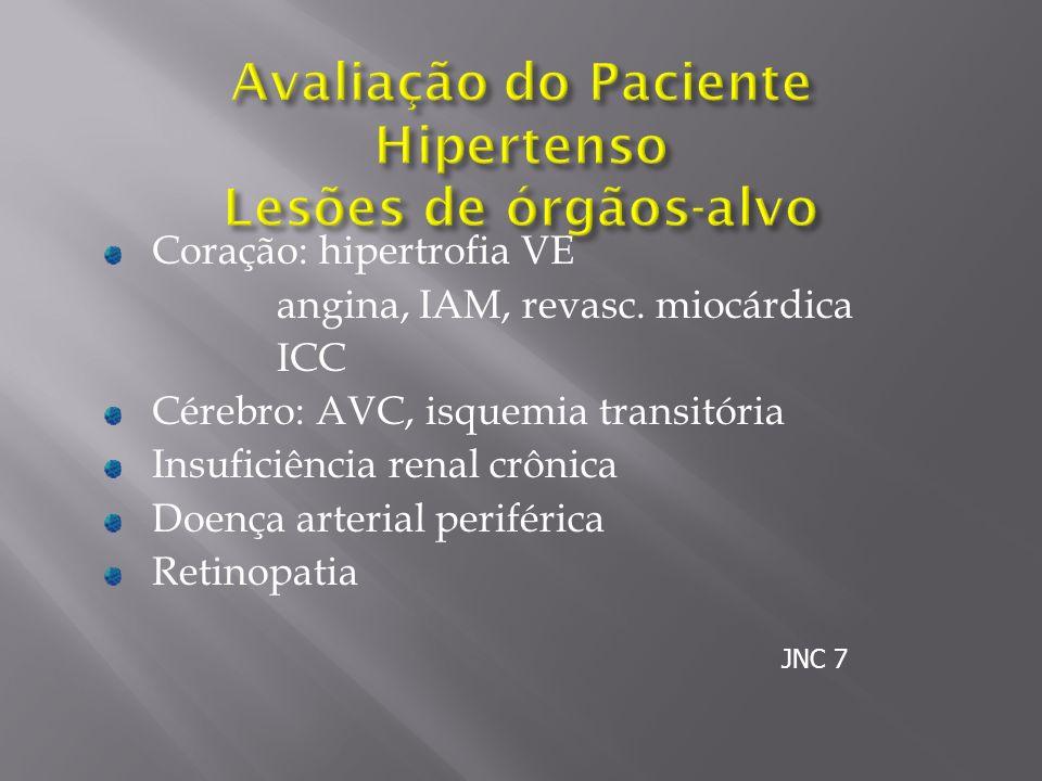 Coração: hipertrofia VE angina, IAM, revasc. miocárdica ICC Cérebro: AVC, isquemia transitória Insuficiência renal crônica Doença arterial periférica