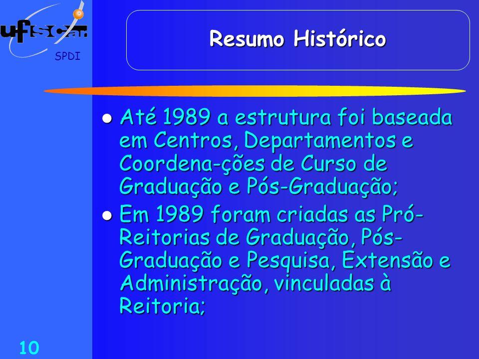 SPDI 10 Resumo Histórico Até 1989 a estrutura foi baseada em Centros, Departamentos e Coordena-ções de Curso de Graduação e Pós-Graduação; Até 1989 a