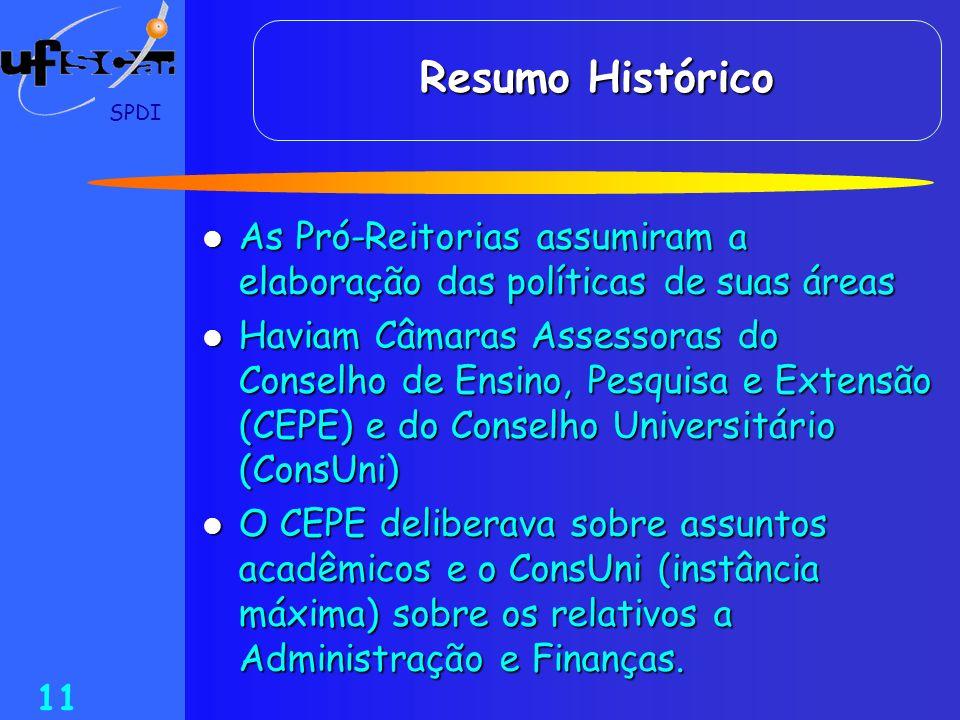 SPDI 11 Resumo Histórico As Pró-Reitorias assumiram a elaboração das políticas de suas áreas As Pró-Reitorias assumiram a elaboração das políticas de