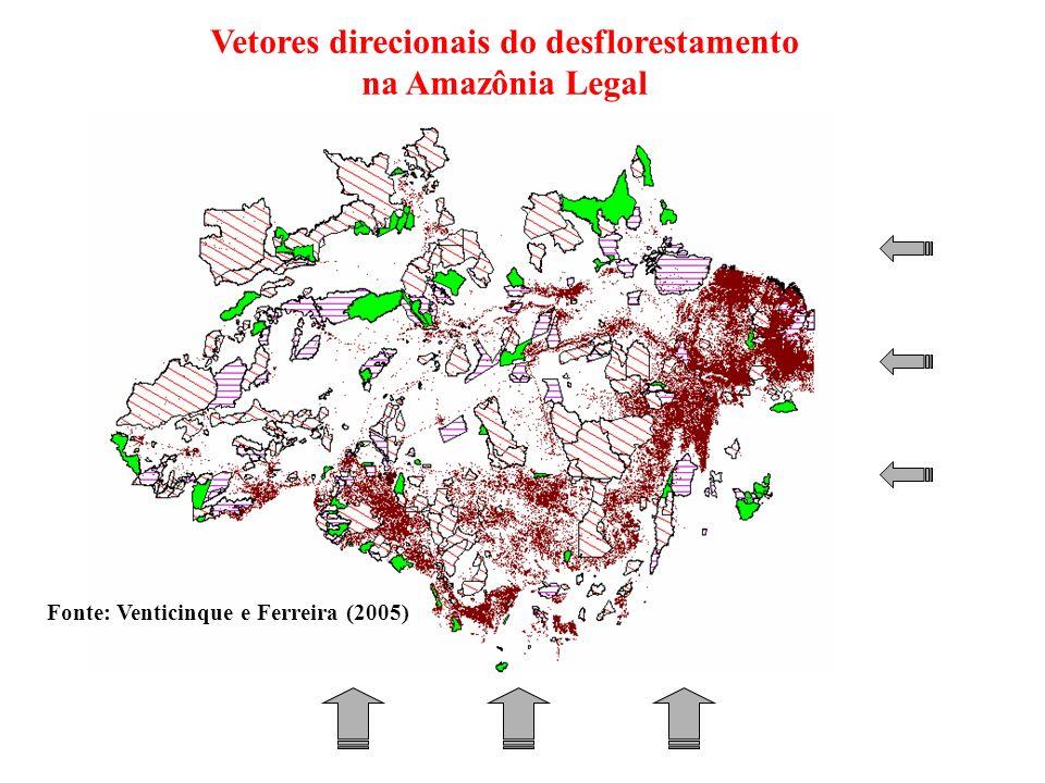 Vetores direcionais do desflorestamento na Amazônia Legal Fonte: Venticinque e Ferreira (2005)