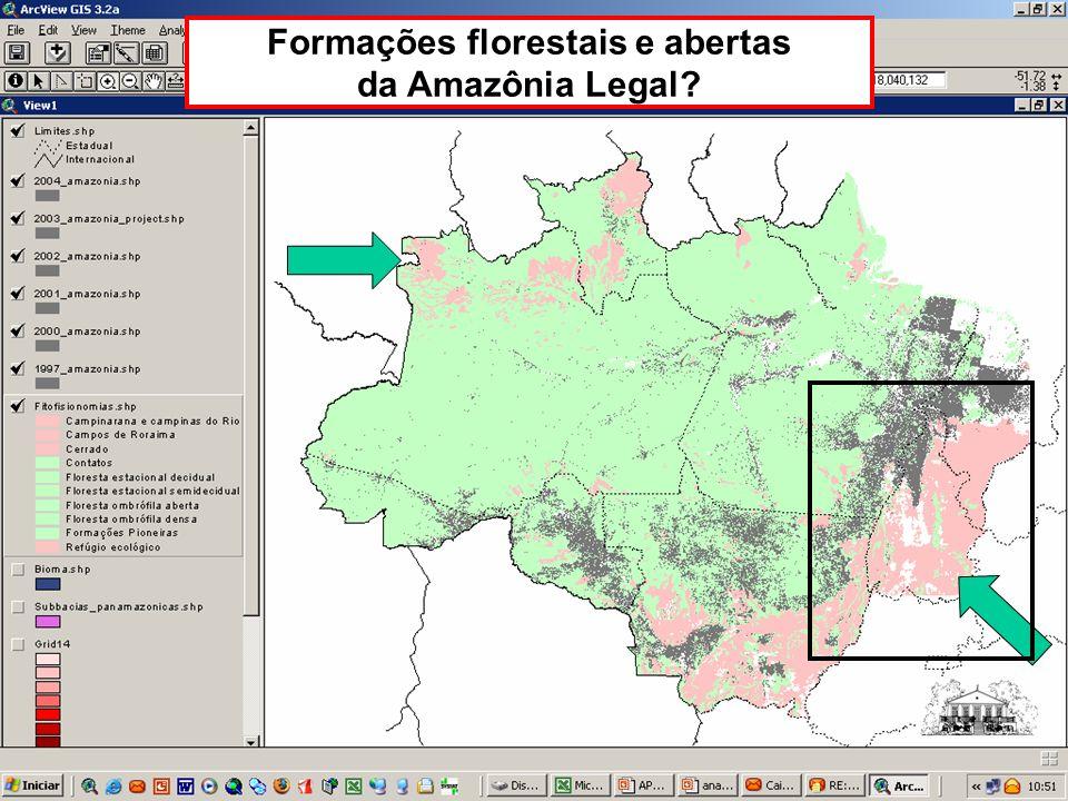 Formações florestais e abertas da Amazônia Legal?