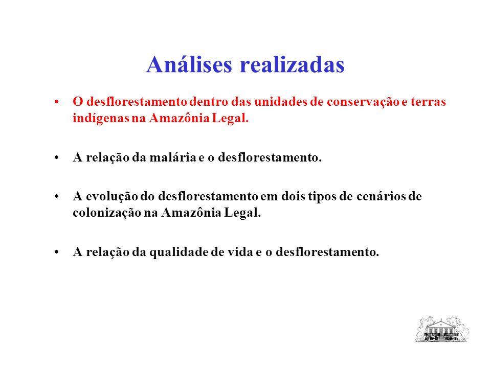 Análises realizadas O desflorestamento dentro das unidades de conservação e terras indígenas na Amazônia Legal.
