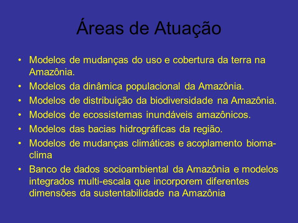 Áreas de Atuação Modelos de mudanças do uso e cobertura da terra na Amazônia. Modelos da dinâmica populacional da Amazônia. Modelos de distribuição da