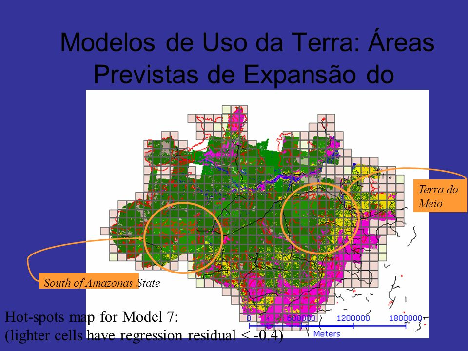 Modelos de Uso da Terra: Áreas Previstas de Expansão do Desmatamento Terra do Meio South of Amazonas State Hot-spots map for Model 7: (lighter cells h