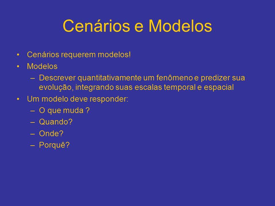Cenários e Modelos Cenários requerem modelos! Modelos –Descrever quantitativamente um fenômeno e predizer sua evolução, integrando suas escalas tempor