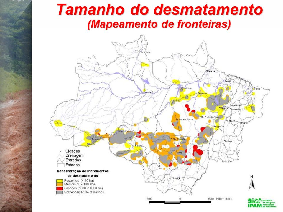 Tamanho do desmatamento (Mapeamento de fronteiras)