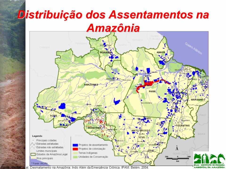 Distribuição dos Assentamentos na Amazônia Fonte: Alencar et al. Desmatamento na Amazônia: Indo Além da Emergência Crônica. IPAM. Belém, 2004.