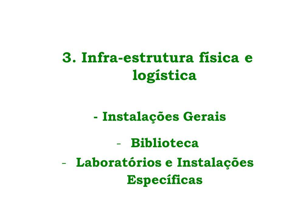 3. Infra-estrutura física e logística - Instalações Gerais - Biblioteca - Laboratórios e Instalações Específicas