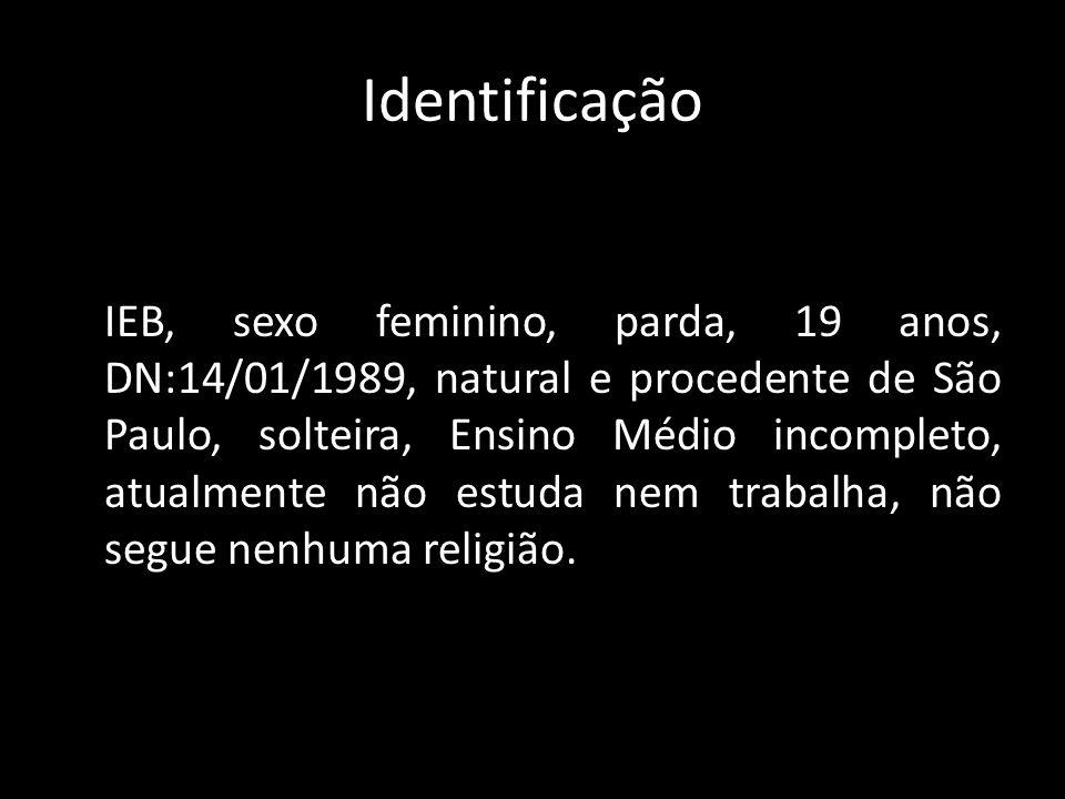 Identificação IEB, sexo feminino, parda, 19 anos, DN:14/01/1989, natural e procedente de São Paulo, solteira, Ensino Médio incompleto, atualmente não