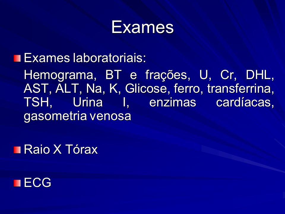 Exames Exames laboratoriais: Hemograma, BT e frações, U, Cr, DHL, AST, ALT, Na, K, Glicose, ferro, transferrina, TSH, Urina I, enzimas cardíacas, gasometria venosa Hemograma, BT e frações, U, Cr, DHL, AST, ALT, Na, K, Glicose, ferro, transferrina, TSH, Urina I, enzimas cardíacas, gasometria venosa Raio X Tórax ECG