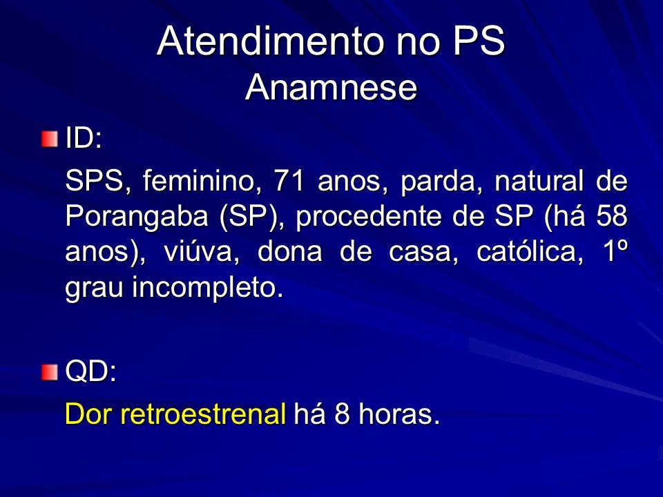 Atendimento no PS Anamnese ID: SPS, feminino, 71 anos, parda, natural de Porangaba (SP), procedente de SP (há 58 anos), viúva, dona de casa, católica, 1º grau incompleto.