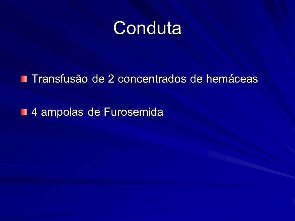 Conduta Transfusão de 2 concentrados de hemáceas 4 ampolas de Furosemida