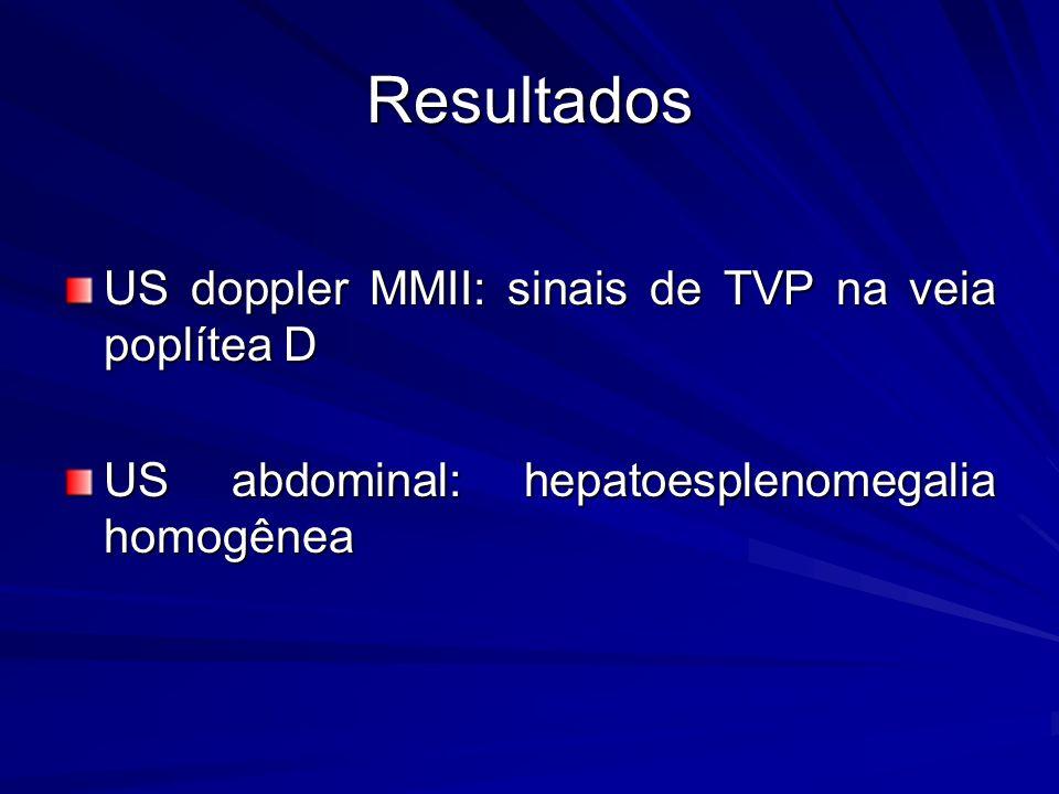 Resultados US doppler MMII: sinais de TVP na veia poplítea D US abdominal: hepatoesplenomegalia homogênea
