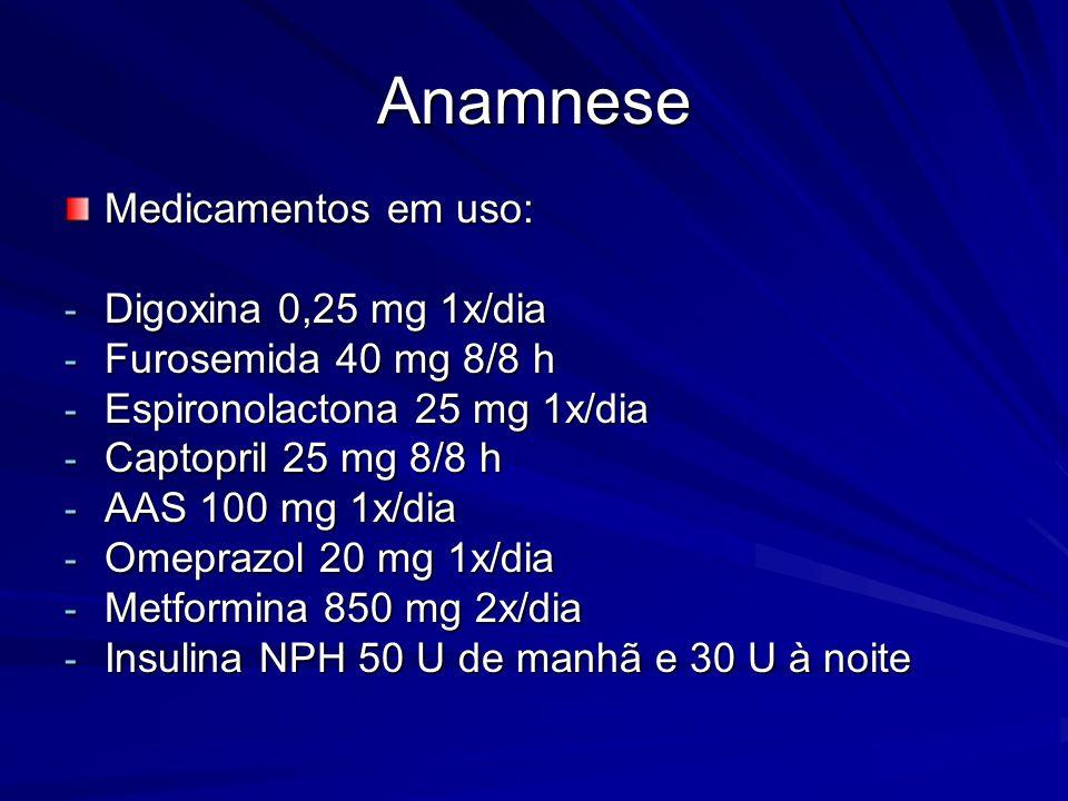 Medicamentos em uso: - Digoxina 0,25 mg 1x/dia - Furosemida 40 mg 8/8 h - Espironolactona 25 mg 1x/dia - Captopril 25 mg 8/8 h - AAS 100 mg 1x/dia - Omeprazol 20 mg 1x/dia - Metformina 850 mg 2x/dia - Insulina NPH 50 U de manhã e 30 U à noite Anamnese