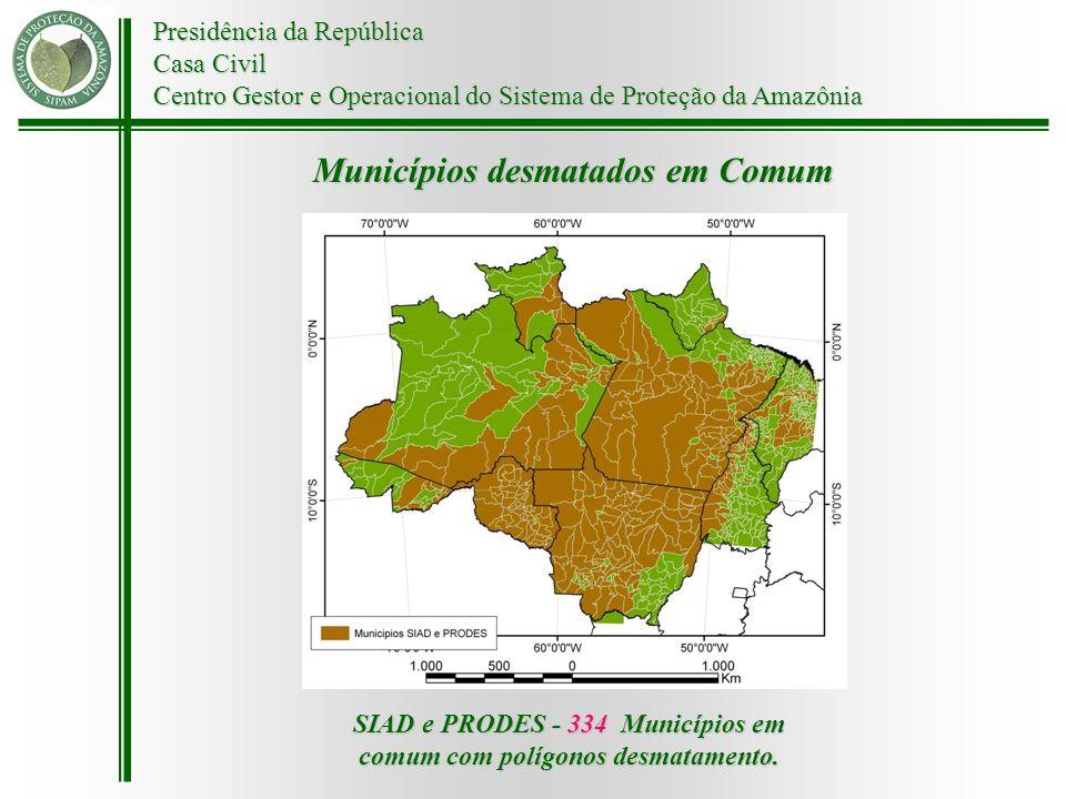 Presidência da República Casa Civil Centro Gestor e Operacional do Sistema de Proteção da Amazônia Municípios desmatados em Comum SIAD e PRODES - 334